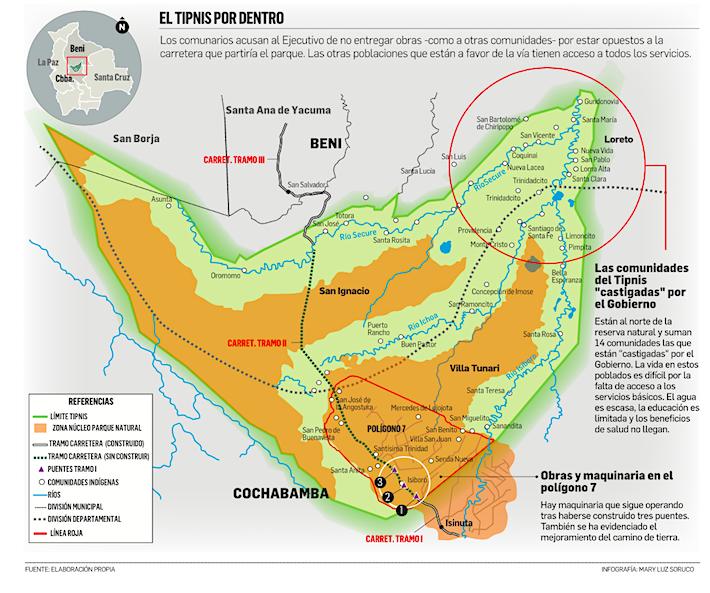 Mapa que muestra la ubicación del Polígono 7 y el tramo donde se han construido los tres puentes. Crédito: Mary luz Soruco.