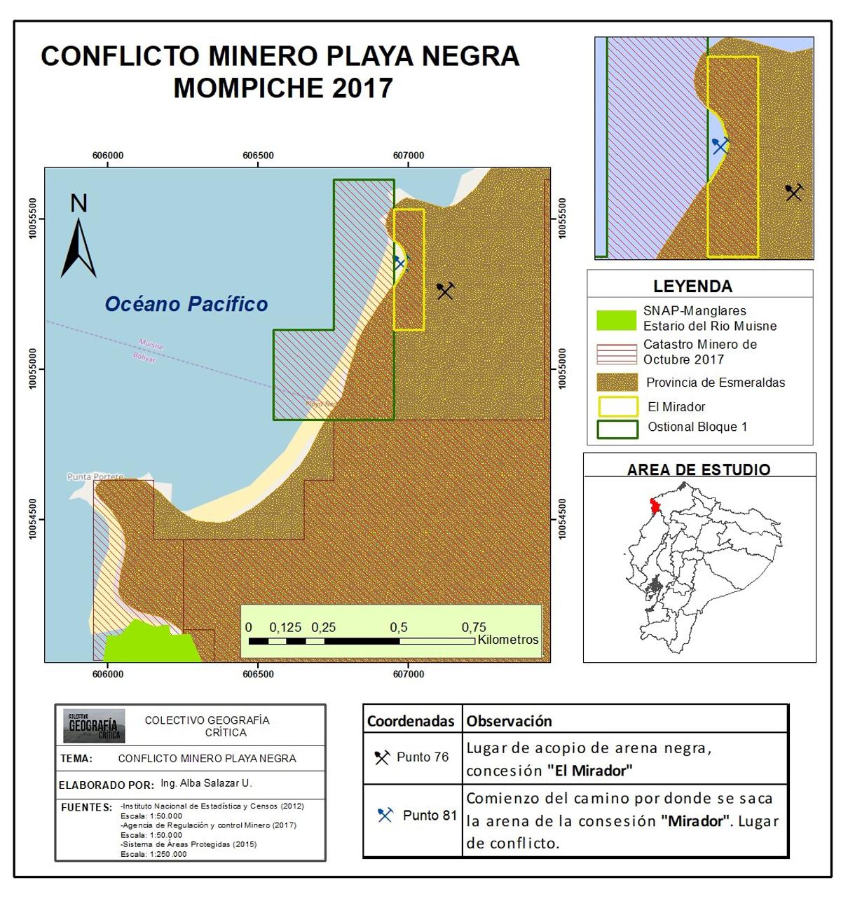 El estudio de la ONG Acción-Ecológica determina que la minería en Playa Negra se encuentra fuera de las concesiones otorgadas. Mapa: Acción Ecológica.