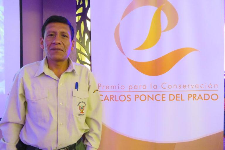 Luis Huanca dedicó su premio a todos sus compañeros, los guardaparques de Perú. Foto: Yvette Sierra Praeli.