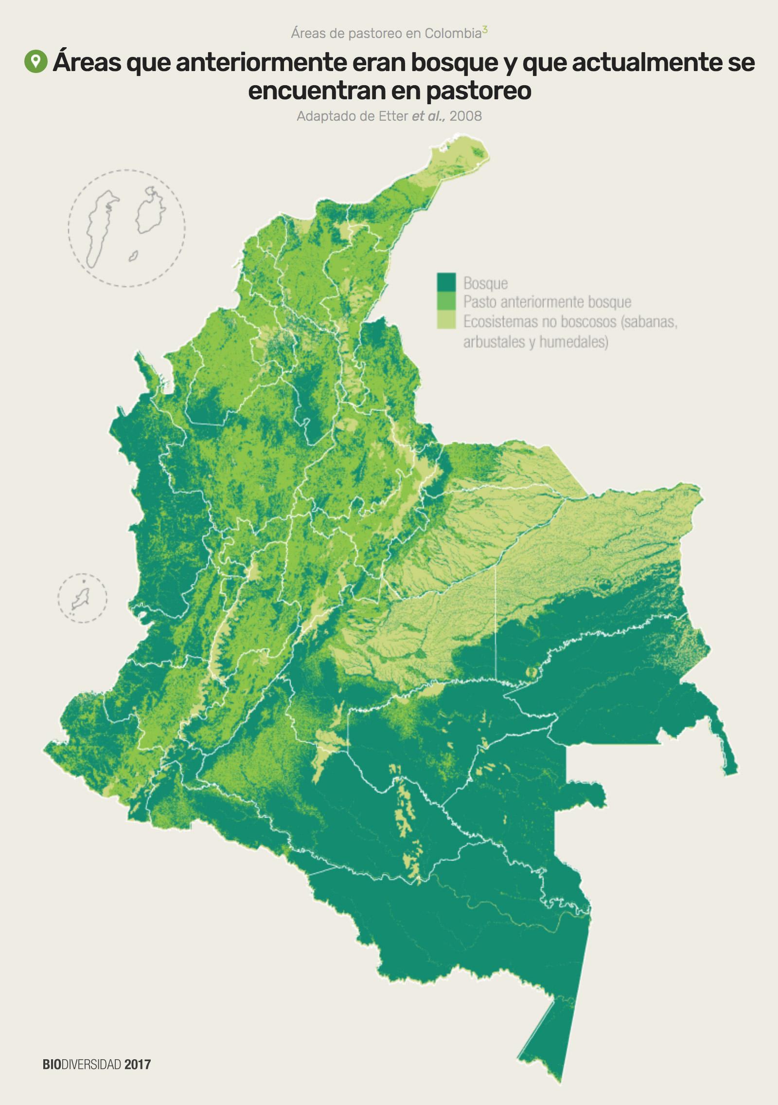 Este mapa muestra las áreas de bosque, aquellas que antes eran bosque y hoy son pastos y los ecosistemas no boscosos como sabanas y humedales. Ilustración: Instituto Humboldt con datos de Etter, A. y Zuluaga, A.
