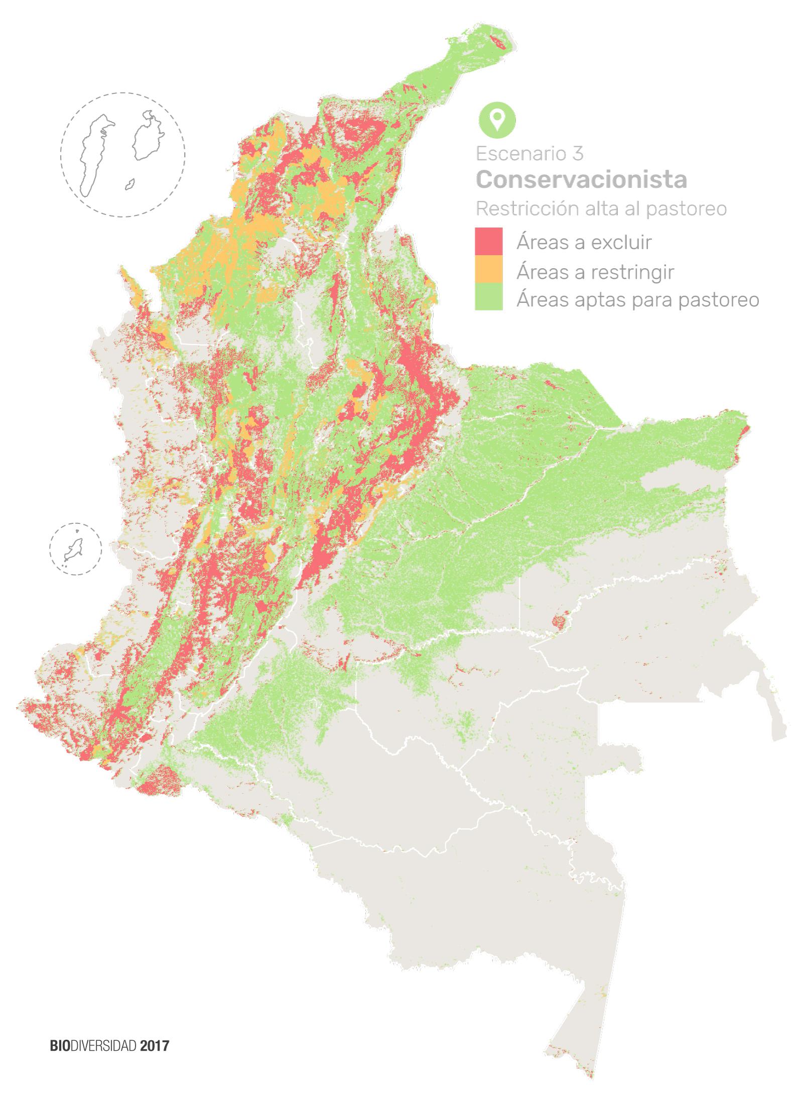 La investigación de Andrés Zuluaga muestra en verde las áreas aptas para pastoreo, en amarillo las zonas que deben tener restricciones y en rojo las zonas donde la ganadería debe ser excluida. Ilustración: Instituto Humboldt con datos de Etter, A. y Zuluaga, A.
