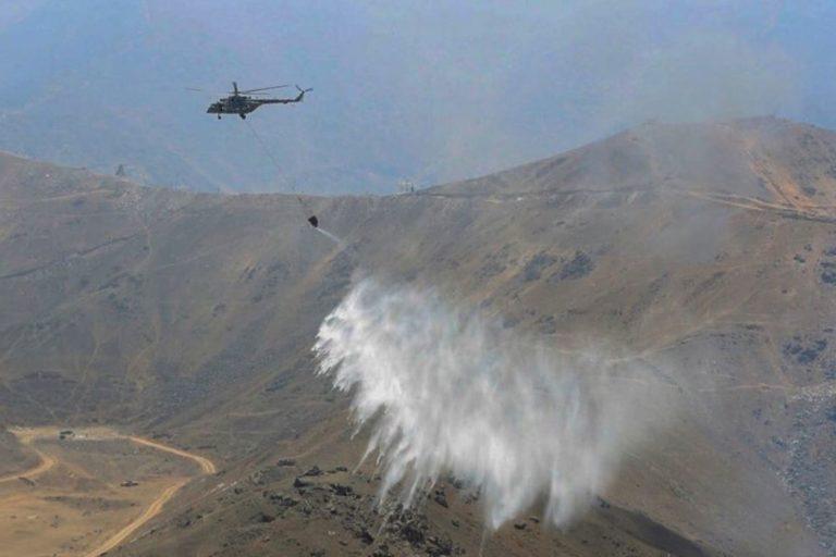 El incendio forestal que se extendió entre Moquegua y Arequipa afectó alrededor de mil hectáreas de bosques. Foto: Agencia Andina.