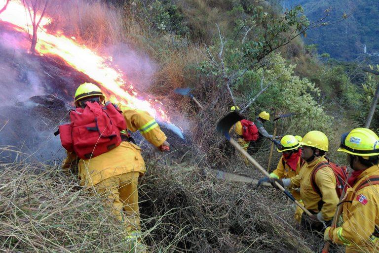 Guardaparques que integran la brigada contra incendios forestales del Sernanp controlan incendio en Machu Picchu. Foto: Sernanp.