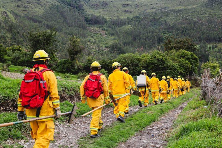 Guardaparques del Sernanp, especializados en atender incendios forestales, participaron en el control del fuego en Arequipa. Foto: Sernanp.