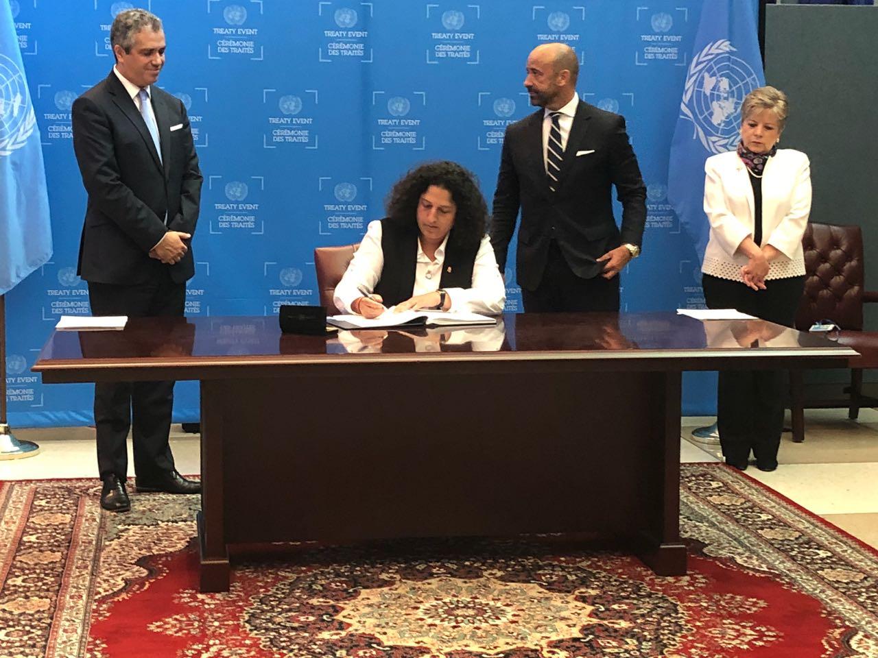 La ministra del Ambiente de Perú, Fabiola Muñoz, durante la firma del Acuerdo de Escazú. Foto: CEPAL.