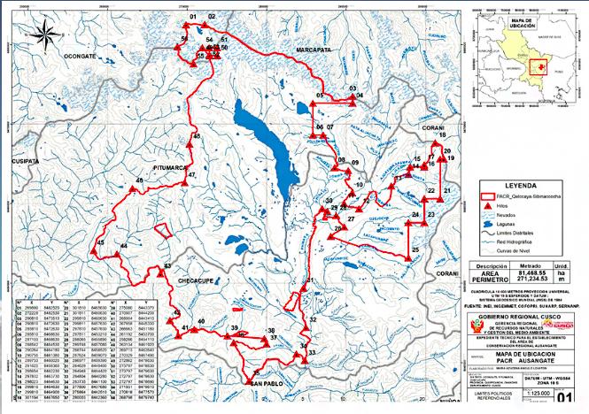 El mapa muestra el territorio de los que sería la nueva ACR Ausangate. Fuente: Gobierno Regional de Cusco.
