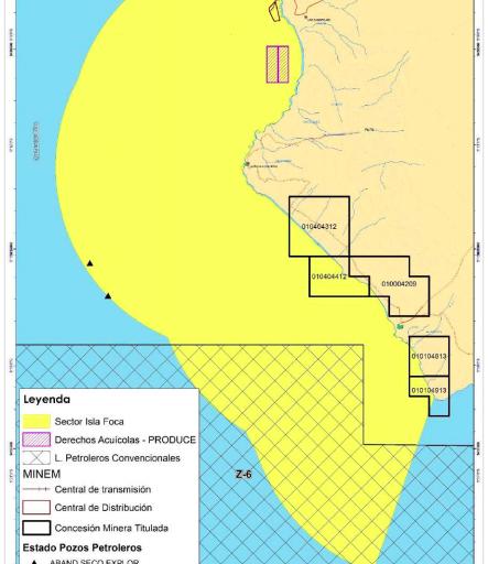 Lotes petroleros y concesiones mineras en las costas del mar de Piura. Fuente: Sernanp.