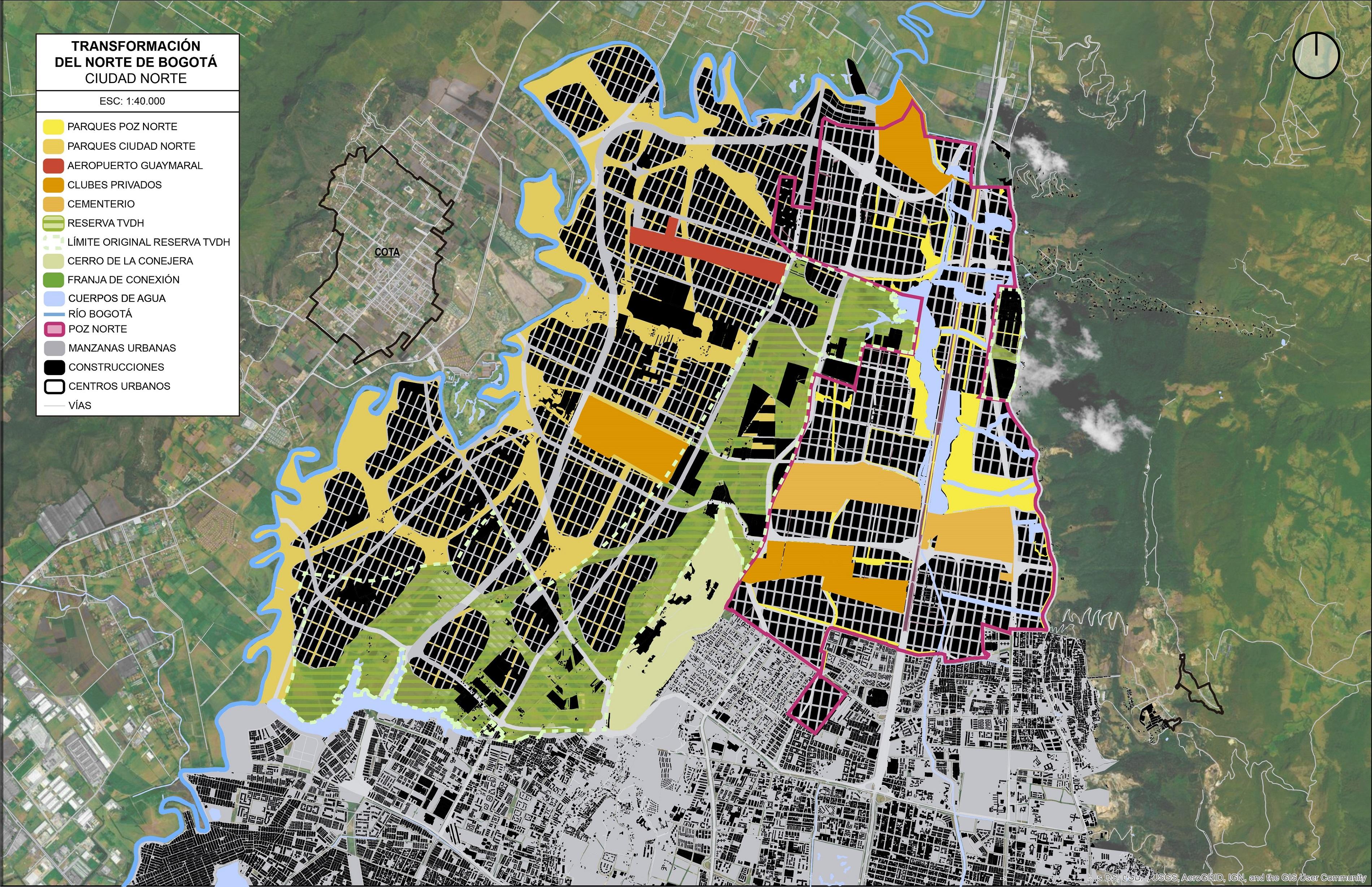 Así quedaría la zona norte de Bogotá con la propuesta Ciudad Norte de la Alcaldía. Imagen: elaborada por Bogotá Lógica con información de la Alcaldía.