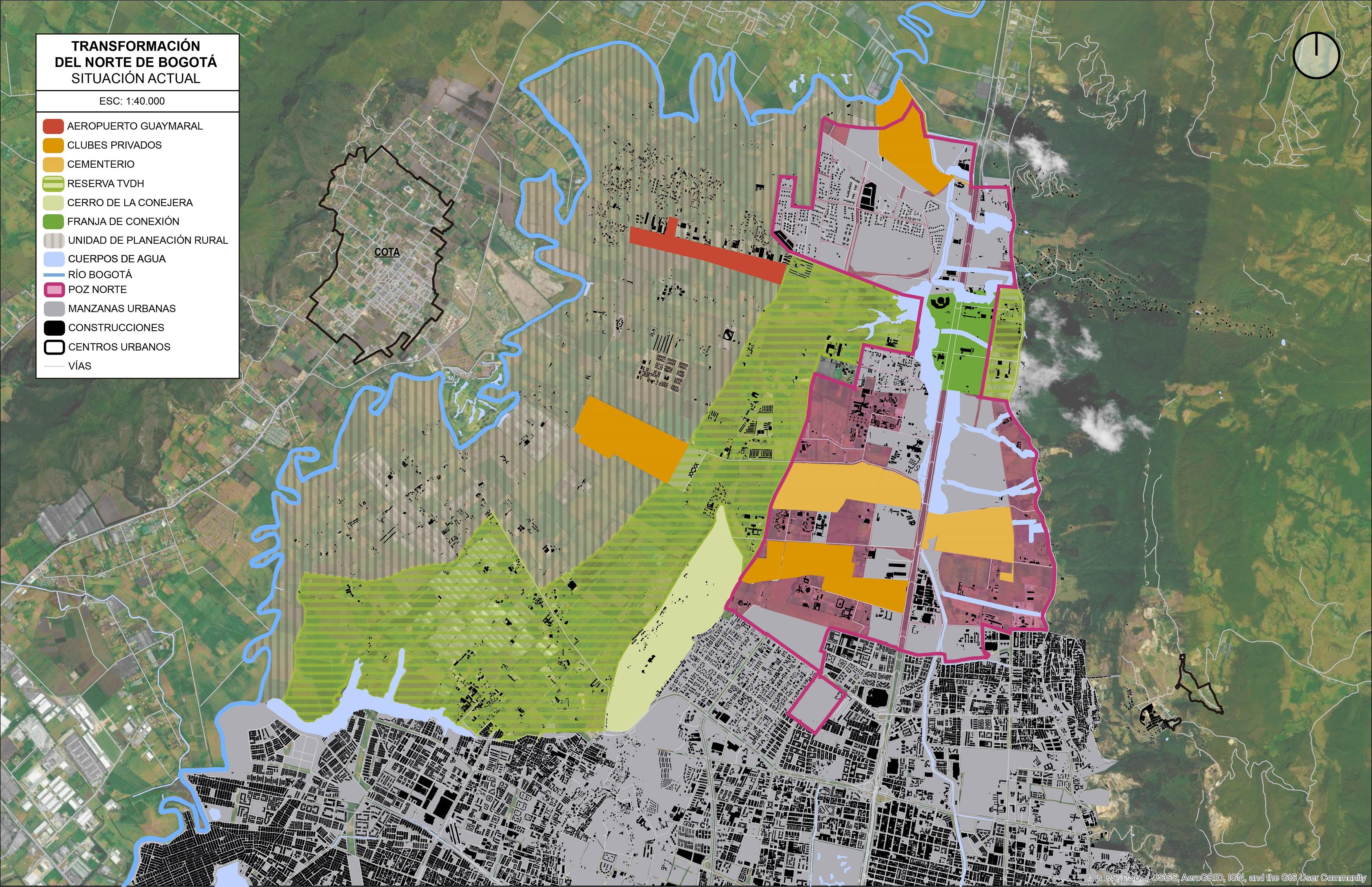 Situación actual del norte de Bogotá con la reserva Thomas Van der Hammen. Imagen: Bogotá Lógica.