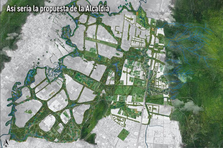 Propuesta de la Alcaldía de Bogotá para la zona norte de la capital. Imagen: Alcaldía de Bogotá.