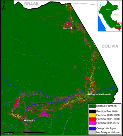 La deforestación en Madre de dios tiene entre sus causas la minería ilegal y la construcción de la carretera Interoceánica. Fuente: MAAP.