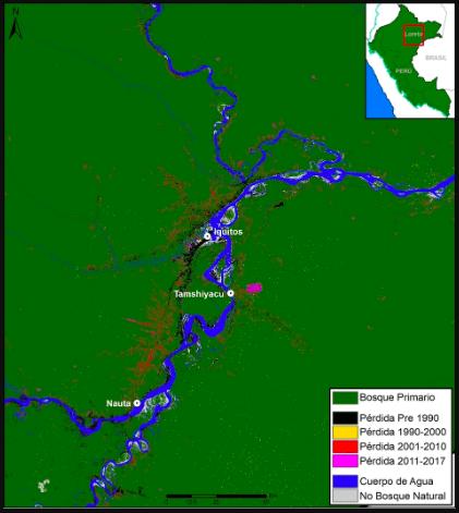 El mapa presenta el panorama de la deforestación en Loreto desde 1990. Fuente: MAAP.