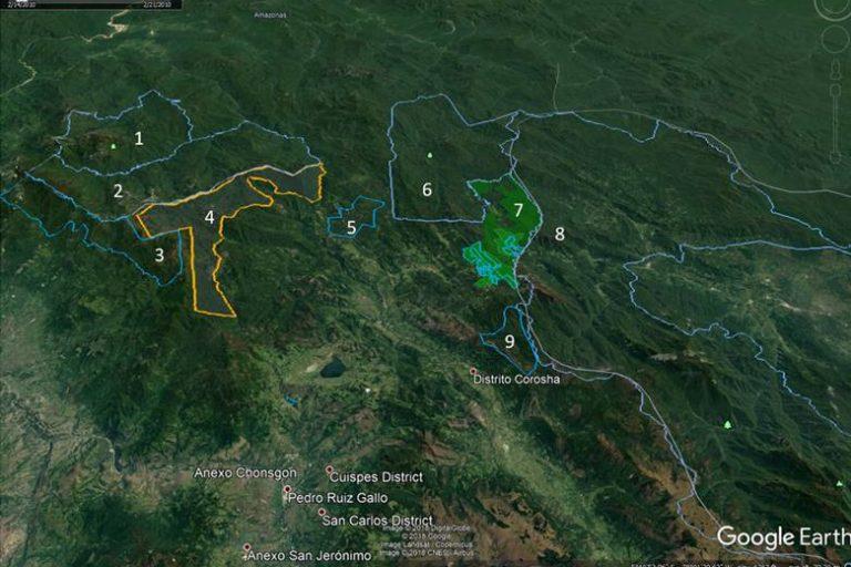 La Área de Conservación Privada Monte Puyo (4) forma parte de una red de áreas reservadas en las regiones Amazonas y San Martín. Fuente: Google Earth / Daniel Lebbin