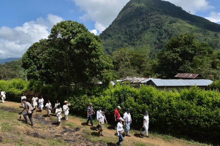 Pueblo Kogui y funcionarios de la Defensoría del Pueblo caminan por la Sierra Nevada de Santa Marta. Foto: Defensoría del Pueblo.