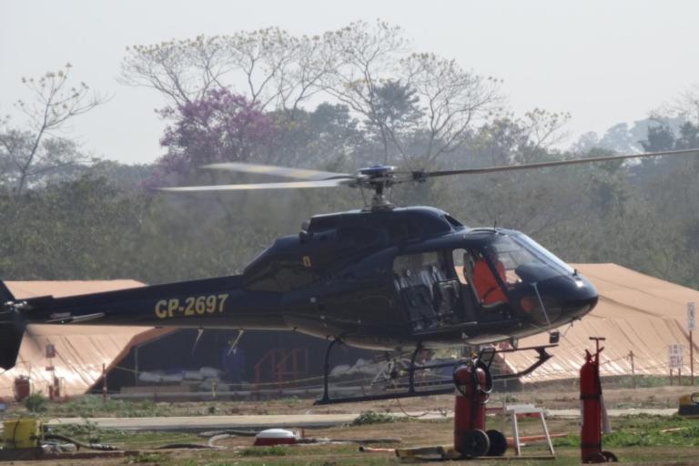 La empresa BGP Bolivia instaló 200 campamentos en la Amazonía boliviana, además de varios helipuertos. Foto: Monitores Socioambientales.