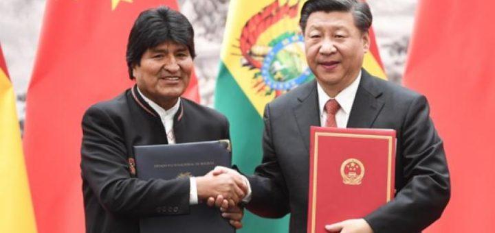 El presidente del Estado Plurinacional de Bolivia, Evo Morales, y su homólogo de la República Popular China, Xi Jinping, firmaron acuerdos de cooperación bilateral. Foto: Gobierno de Bolivia.