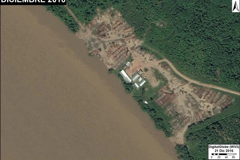 Zona a orillas del río destinada al acopio y almacenamiento de madera. Fuente: DigitalGlobe / MAAP.