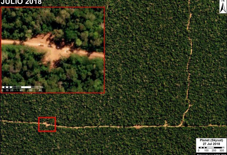 Desde el aire se observa las líneas que forman la carretera. Un acercamiento permite ver detalles del transporte de madera. Fuente: Skysat (Planet) / MAAP.