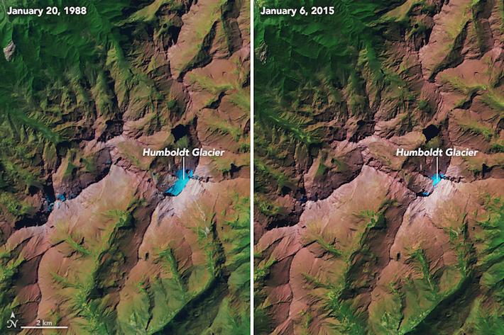 Imágenes comparativas de la masa glaciar sobre el Pico Humboldt entre el 20 de enero de 1988 y el 6 de enero de 2015. Foto: NASA Earth Observatory.