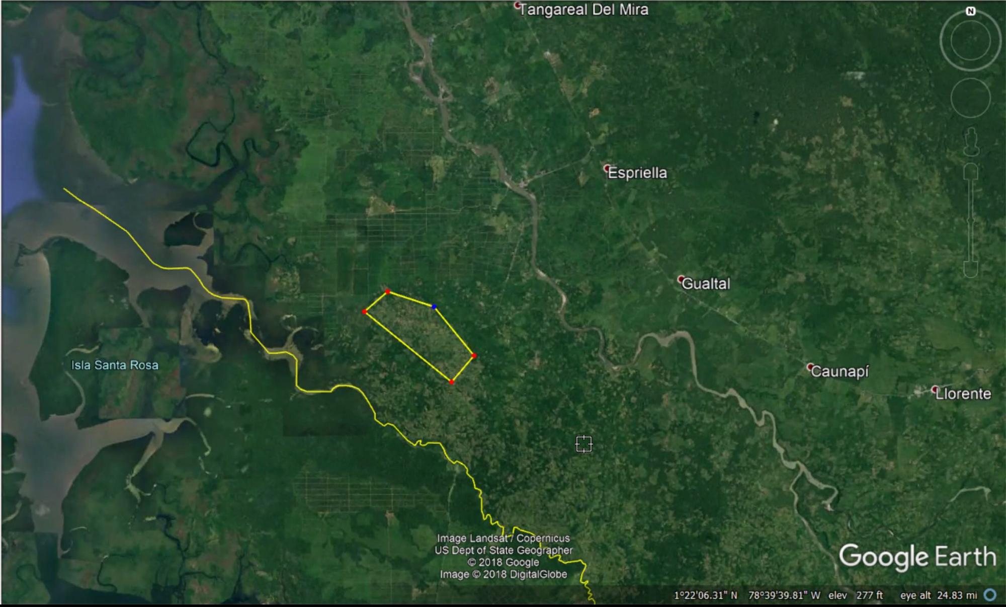 El polígono rodeado poramarillo es, según Carlos Corredor de Palmeiras SA, el área de las 800 hectáreas que se traslapan entre el consejo comunitario de Alto Mira y Frontera y la empresa palmicultora. Imagen: Google Earth.