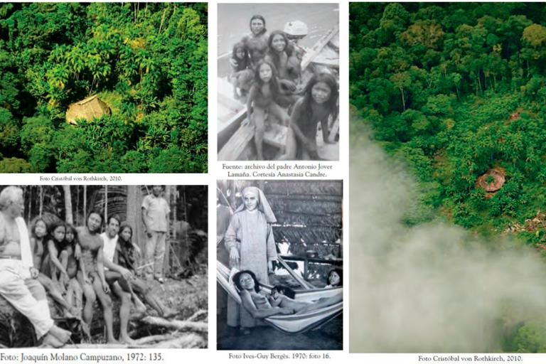 Algunas imágenes de malocas de pueblos indígenas aislados Yurí y Passé. Fotografías de miembros de la comunidad en la década de los 70, la única ocasión en que han tenido contacto. Fotos: Tomadas del libro Cariba Malo.
