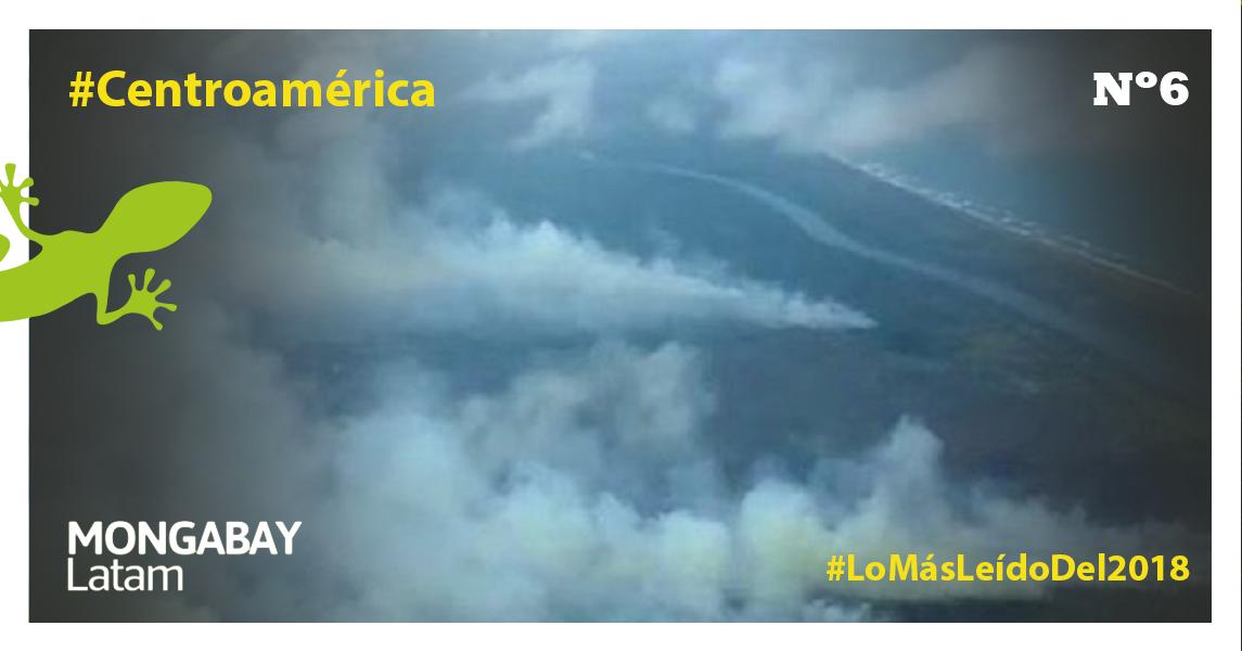Vista aérea de los focos de incendio en la reserva Indio Maíz. Foto: Fundación del Río.