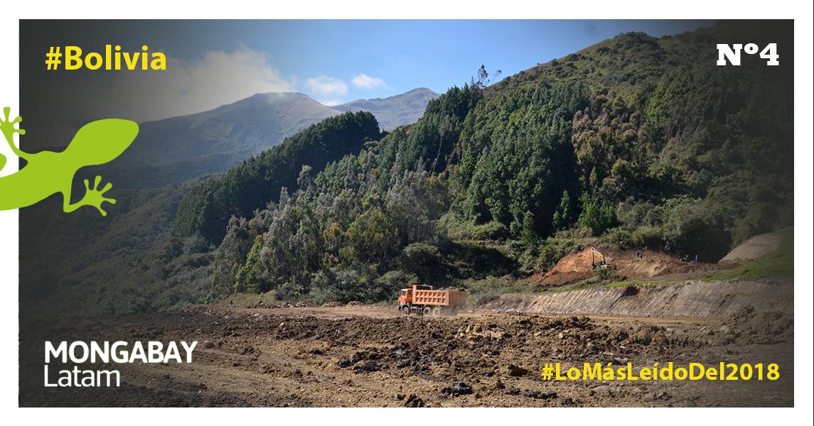 Parte de los trabajos que realiza Sinohydro en la vía de acceso al Parque Carrasco. Foto: Miriam Jemio