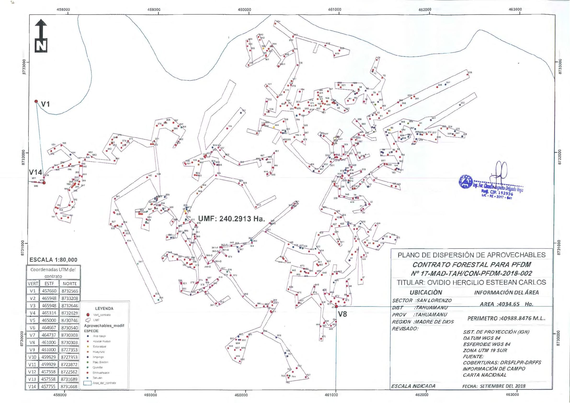 El mapa aprobado para la extracción de madera de una concesión de castaña. Los puntos rojos son shihuahuacos. Fuente: Dirección Regional de Flora y Fauna silvestre de Tahuamanu