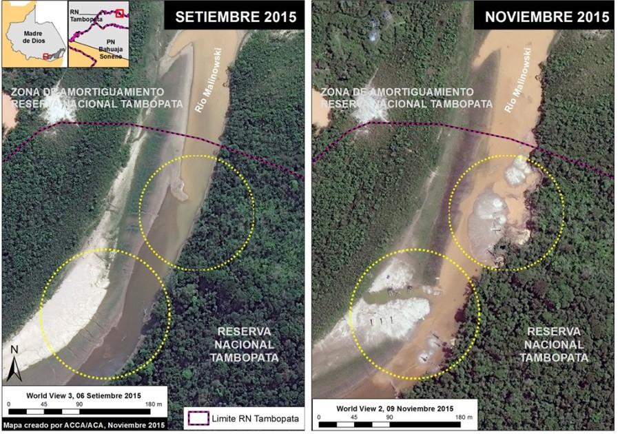 Un análisis de imágenes satelitales en el año 2015 mostró cómo ingresó la minería ilegal a la Reserva Nacional de Tambopata. Fuente: MAAP.