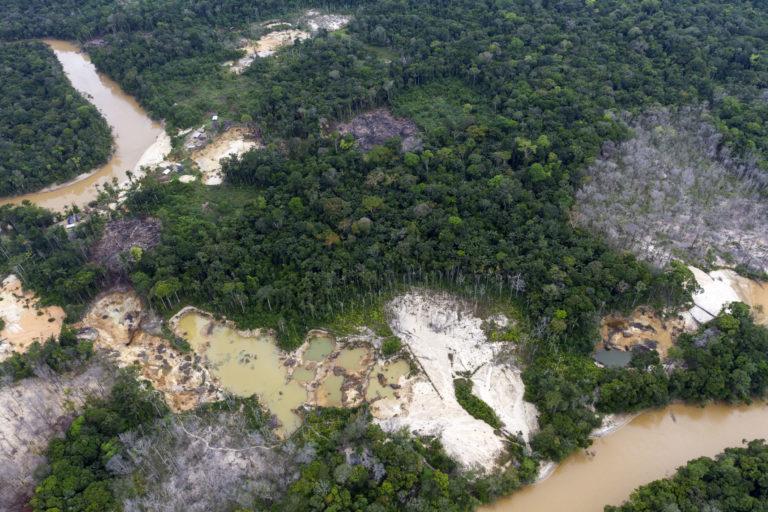 Bosques arrasados por la minería ilegal en el Parque Nacional Canaima, en Venezuela. Foto: Javier Mesa.