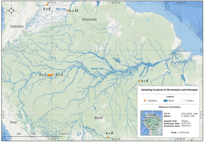 El mapa muestra las cuencas del Amazonas y el Orinoco, donde se realizó la investigación sobre mercurio en delfines.