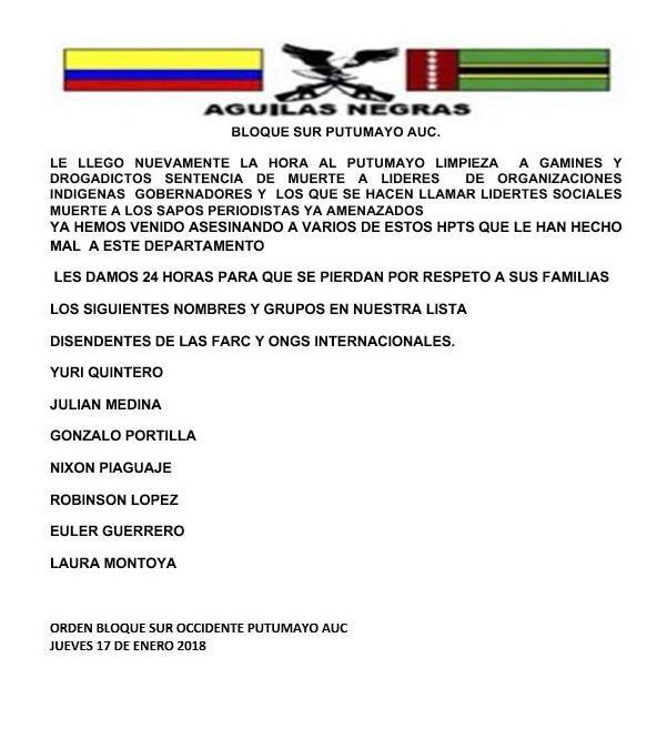 En este panfleto del 17 de enero, el grupo que se hace llamar Águilas Negras amenaza de muerte a Robisnon López.