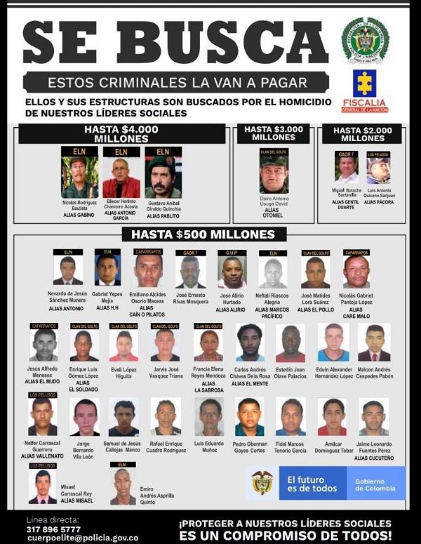 Con este cartel la Policía y la Fiscalía ofrecen recompensas a quien ayude a capturar a los presuntos homicidas de líderes sociales en Colombia. Imagen: Policía Nacional.