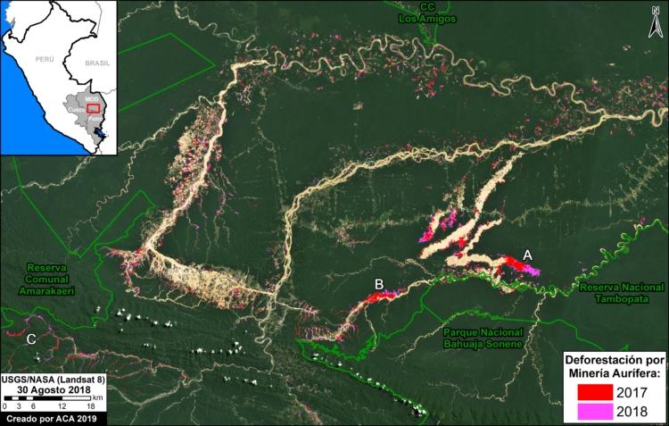 El mapa muestra en avance de la deforestación en la Amazonía del sur del Perú. Imagen: MAAP / Conservación Amazónica – ACCA.