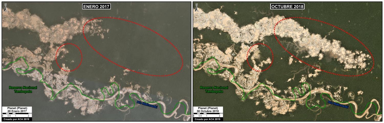 Más de 1600 hectáreas fueron arrasadas por la minería ilegal en La Pampa entre enero de 2017 y noviembre de 2018. Imagen: MAAP / Conservación Amazónica – ACCA.