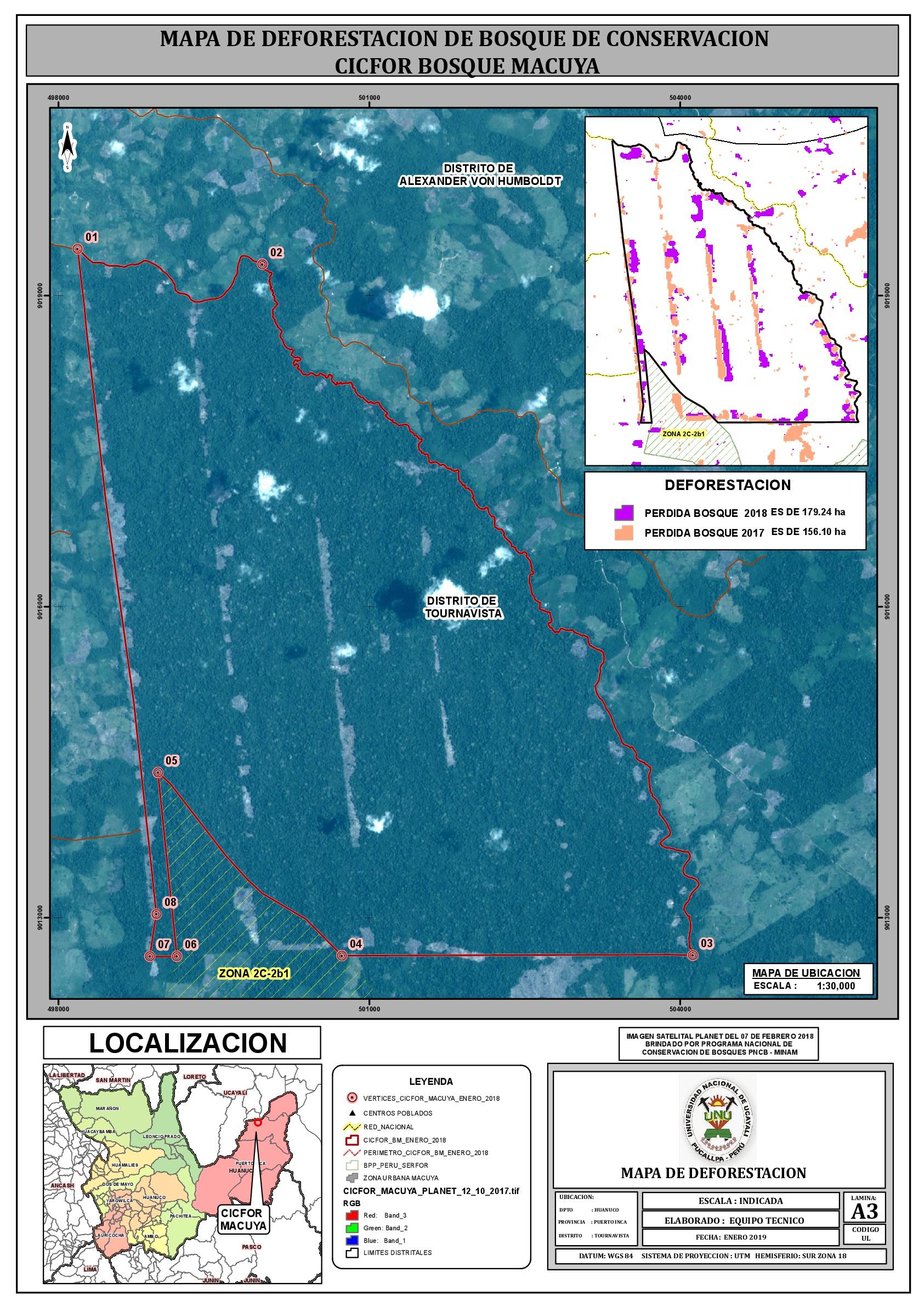 El mapa muestra cómo avanza la deforestación dentro del territorio cedido a la Universidad Nacional de Ucayali. Imagen: Dennis Verde.