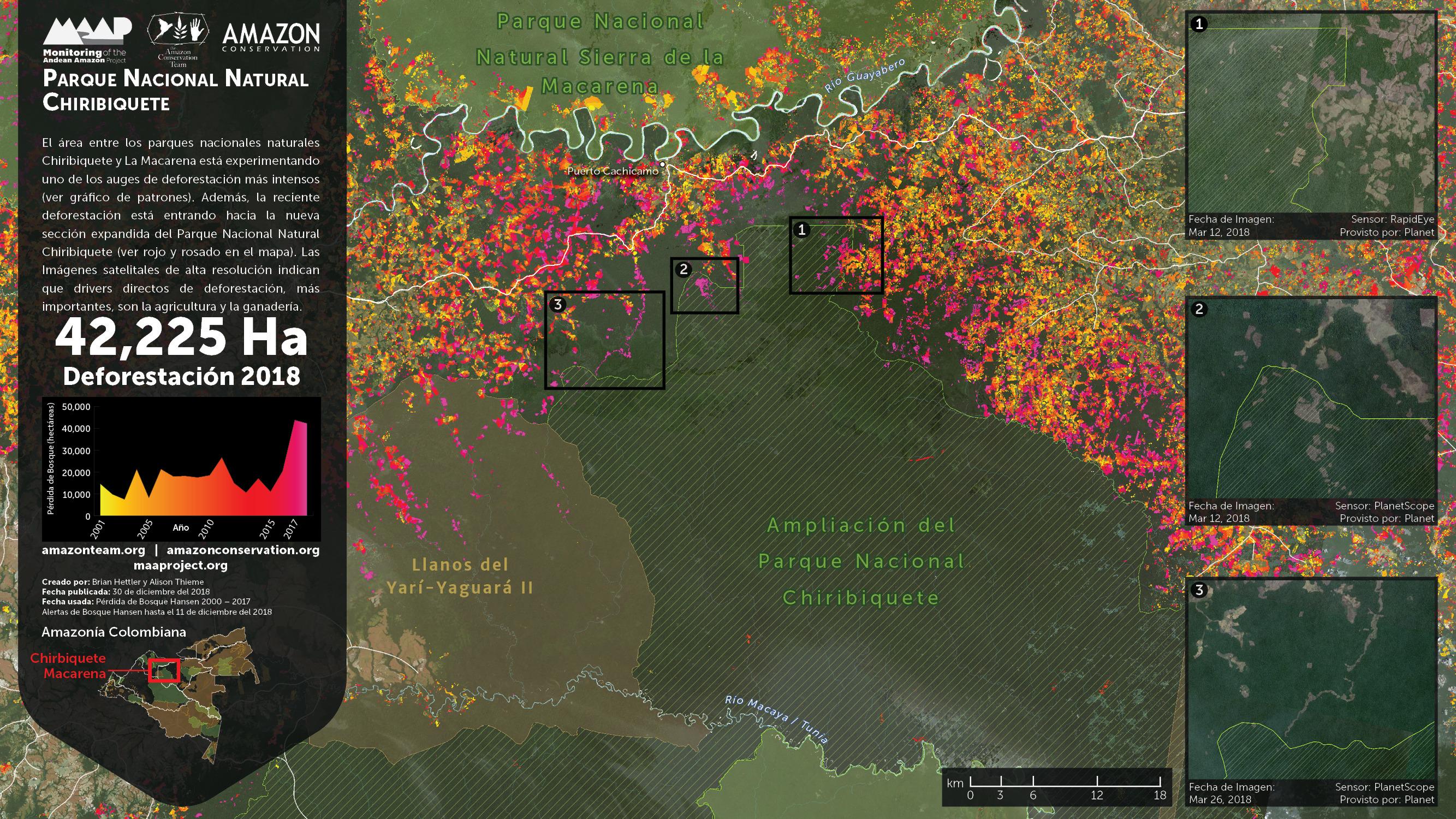 Foco 2 de deforestación: Chiribiquete – La Macarena. Imagen: Planet, UMD/GLAD, Hansen/UMD/Google/USGS/NASA, PNN, SIAC, RAISG.