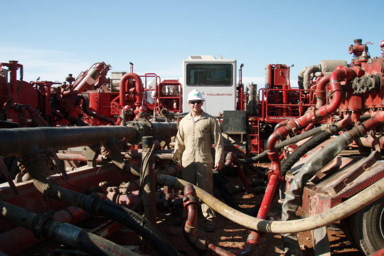 Mezcla de agua con fluidos para fracking en Estados Unidos. Foto: Joshua Doubek, Wikimedia Commons.