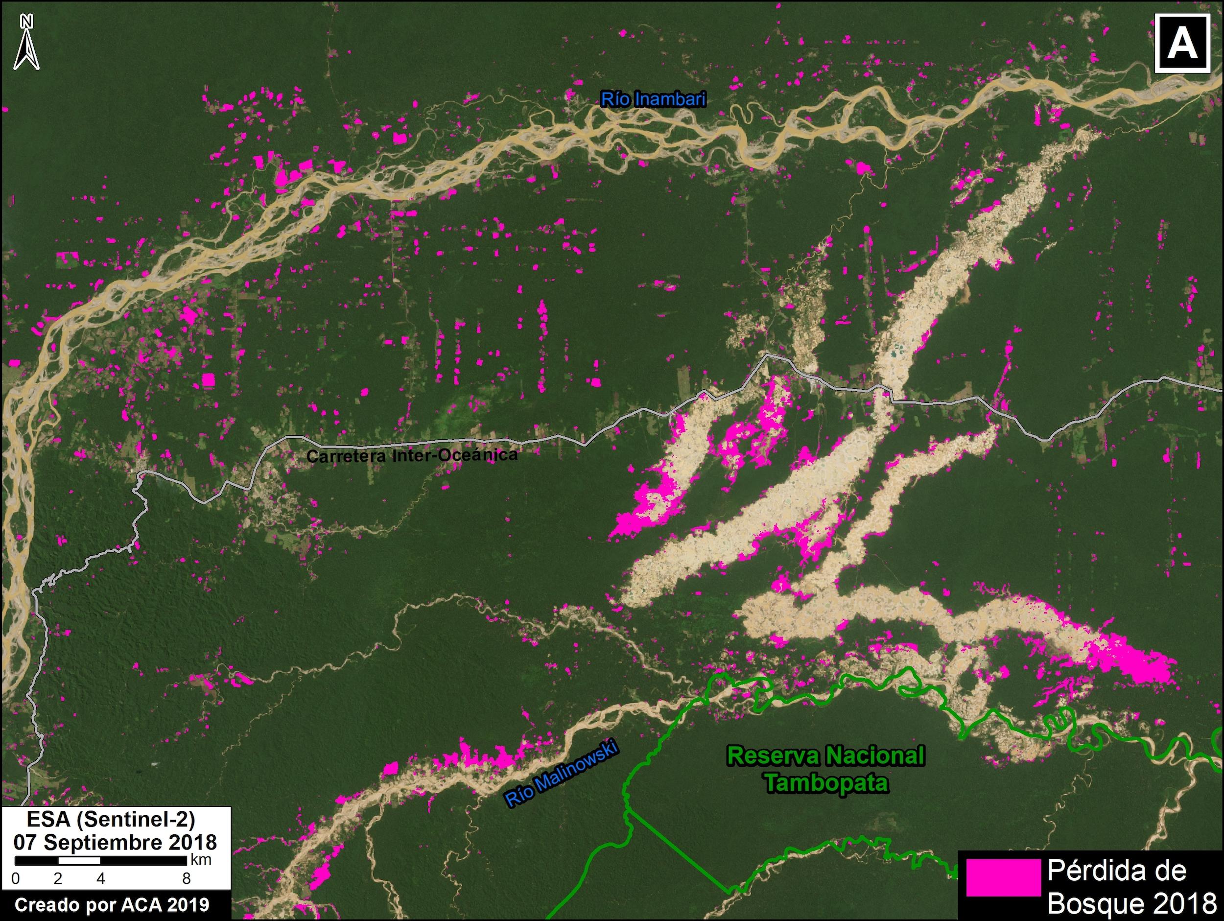 Las imágenes satelitales muestran las zonas deforestadas durante el 2018. Imagen: MAAP / ACCA.