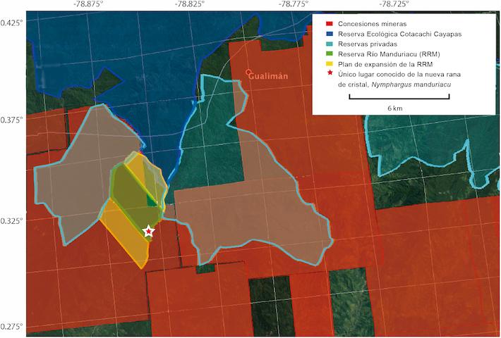 El mapa proporcionado por los investigadores muestra el espacio que ocupan las concesiones mineras.