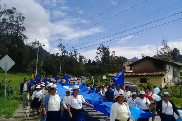 Campaña en defensa de Quimsacocha. Comunidades del Cantón Girón. Foto: Bolívar Quezada.