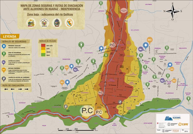 El mapa de peligro fue elaborado por expertos de las universidades de Zurich y Texas. Imagen: Proyecto Glaciares.