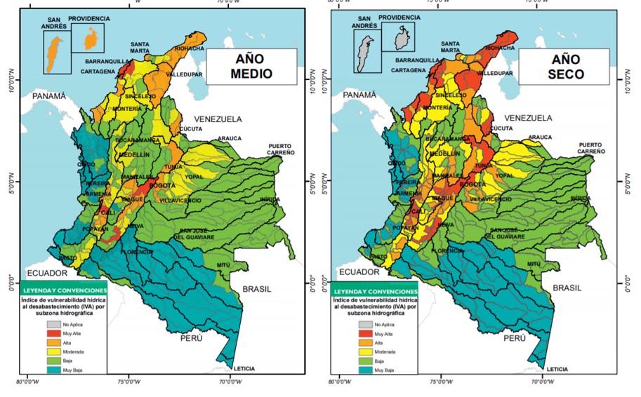 Índice de vulnerabilidad hídrica al desabastecimiento. Imagen: Estudio Nacional del Agua.