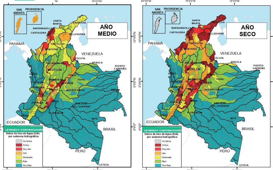 Índice de uso del agua. Imagen: Estudio Nacional del Agua.