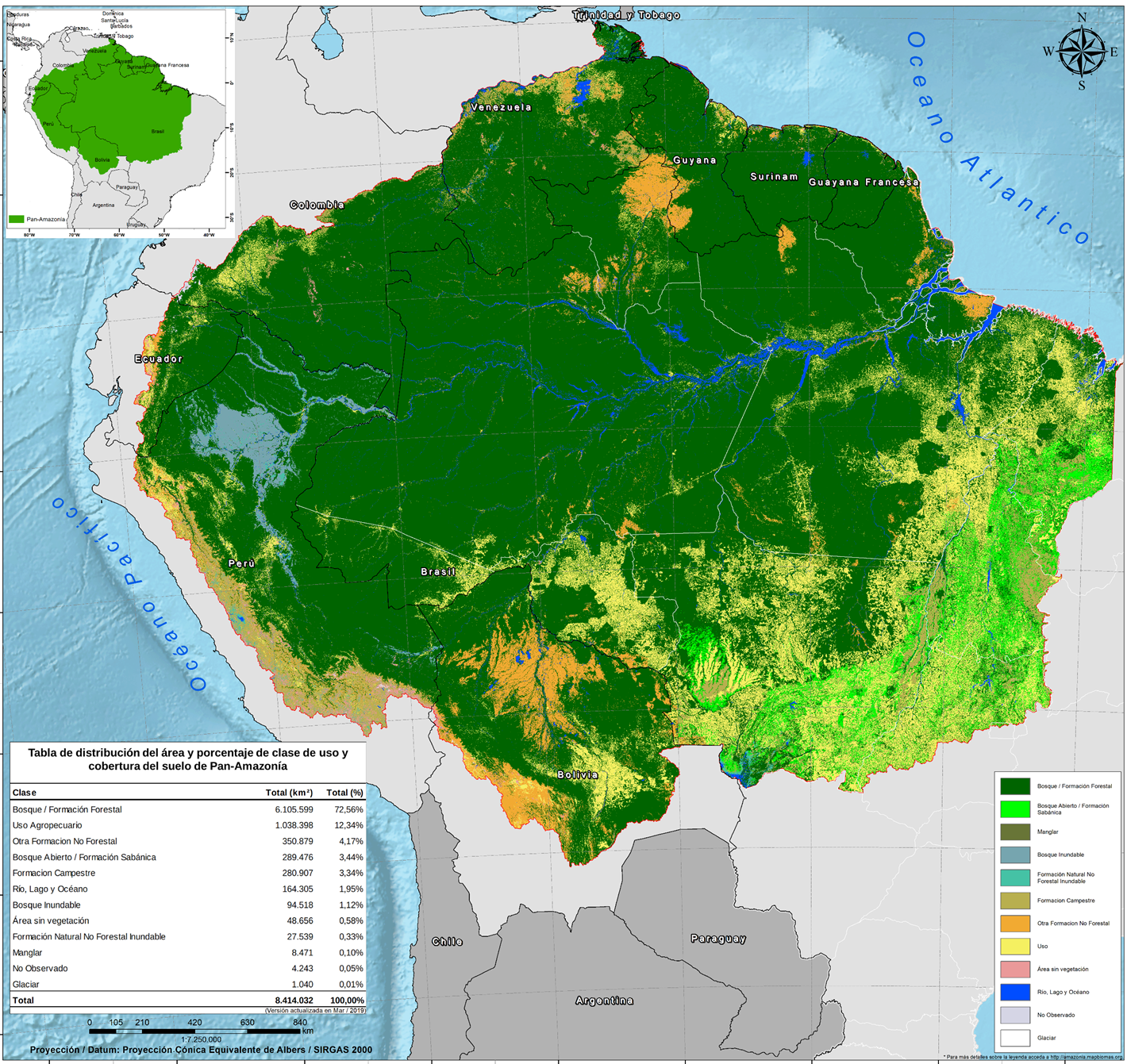 Un mapa elaborado a inicios de este año muestra el avance de la pérdida de bosques en la Amazonía. Fuente: MapBiomas.
