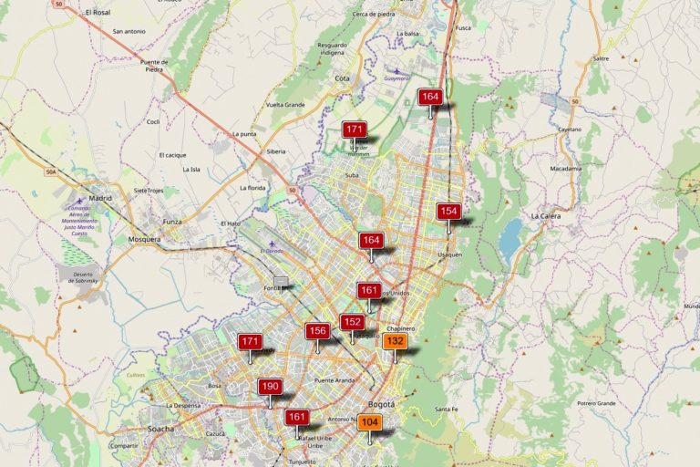 Reporte de las estaciones de monitoreo de calidad del aire en Bogotá el 28 de marzo de 2019 a las 8 am. Situación dañina para la salud. Imagen: Monitoreo calidad del aire Bogotá.
