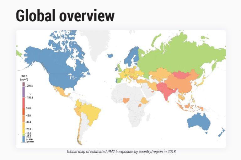 Mapa de las concentraciones de PM 2.5 en el mundo. Fuente: Reporte Mundial de Calidad del Aire 2018.