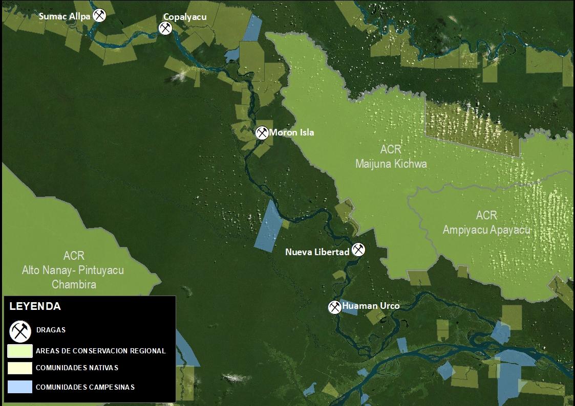 El mapa muestra los lugares donde Mongabay Latam observó peque-dragas operando. Imagen: Rainforest Foundation.