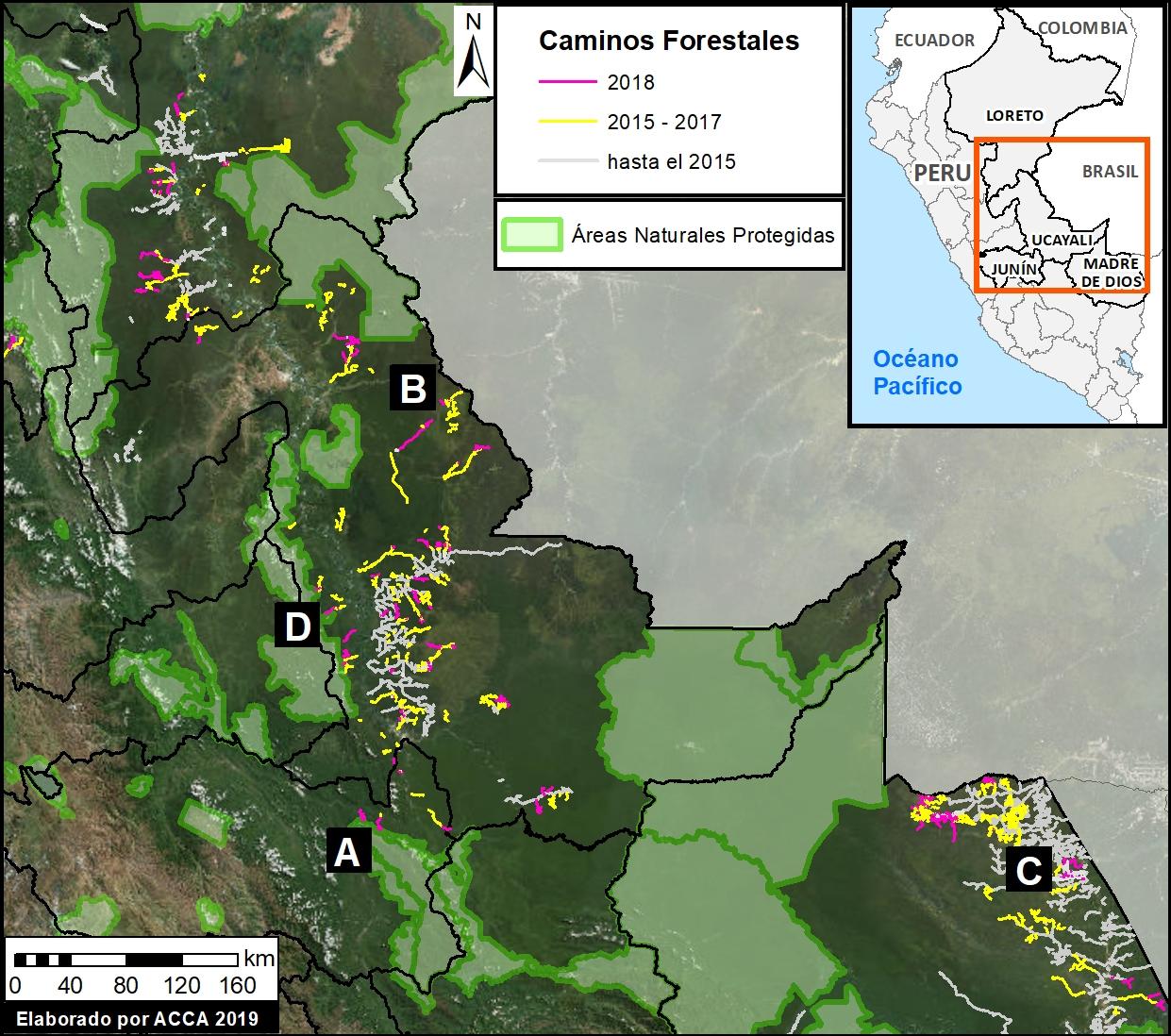 El mapa muestra el avance de los caminos forestales en la Amazonía peruana. Imagen: MAAP / ACCA.
