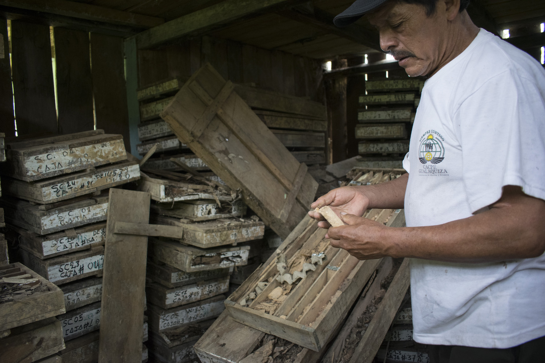 Dentro de una estrecha covacha, Oswaldo Domínguez -oriundo de la provincia de Azuay y habitante de Limón por más de 50 años- muestra las perforaciones de la empresa minera Billington, la que hizo exploración hace más de una década. Foto: Isabela Ponce.